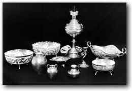 Lefkara Silver crafts handicrafts - tea service, jugs, teapots and various other vessels