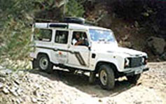Defender jeep takes passengers on safari excursions throughout Cyprus